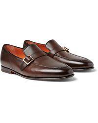 Santoni Burnished Full-grain Leather Loafers - Brown