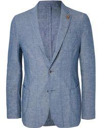Lardini | Light-blue Slim-fit Unstructured Cotton And Linen-blend Chambray Blazer | Lyst