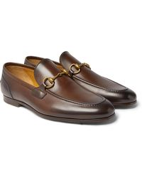 Gucci Jordaan Horsebit Burnished-leather Loafers - Brown