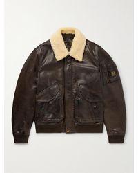 Belstaff Carrier Shearling-trimmed Full-grain Leather Bomber Jacket - Brown