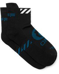 Off-White c/o Virgil Abloh Logo-intarsia Stretch-knit No-show Socks - Black
