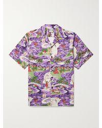 Go Barefoot Land Of Aloha Camp-collar Printed Cotton Shirt - Purple