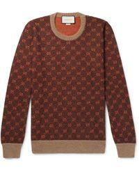adf9f2c1917 Gucci - Logo-intarsia Wool And Alpaca-blend Jumper - Lyst
