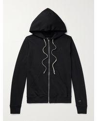 Rick Owens Champion Jason's Logo-embroidered Loopback Cotton-jersey Zip-up Hoodie - Black