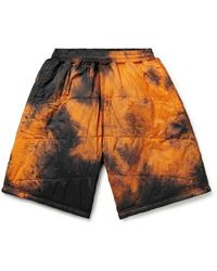Aries Quilted Padded Tie-dyed Shell Shorts - Orange