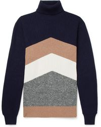 Brunello Cucinelli - Chevron Ribbed Virgin Wool, Cashmere And Silk-blend Rollneck Jumper - Lyst