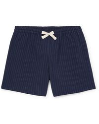 Howlin' Holiday Pinstriped Cotton-blend Seersucker Drawstring Shorts - Blue