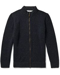 Inis Meáin Donegal Merino Wool And Cashmere-blend Zip-up Cardigan - Blue