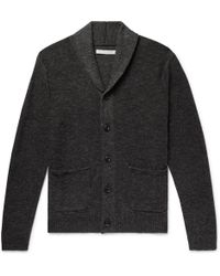 Outerknown - Shawl-collar Mélange Organic Cotton And Wool-blend Cardigan - Lyst