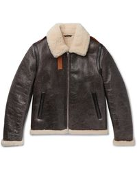 Acne Studios Shearling-lined Textured-leather Jacket - Brown