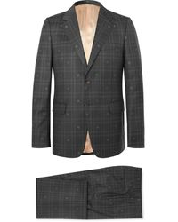 Gucci Slim-fit Embroidered Prince Of Wales Checked Wool Suit - Grey