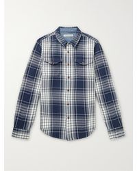 Outerknown Blanket Checked Organic Cotton-twill Shirt - Blue