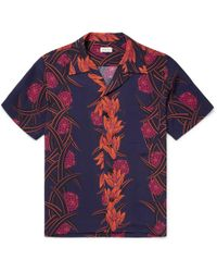 You As - Miles Camp-collar Printed Matte-satin Shirt - Lyst