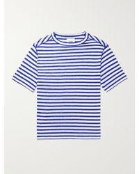 Drake's Slim-fit Striped Linen T-shirt - Blue