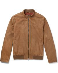 Loro Piana Rain System Suede Bomber Jacket - Brown