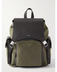 Serapian Leather-panelled Canvas Backpack - Green