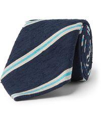 Richard James 7.5cm Striped Silk-shantung Tie - Blue
