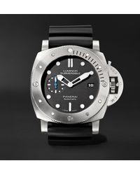 Panerai Submersible Automatic 47mm Titanium And Rubber Watch - Metallic