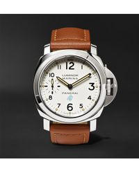 Officine Panerai - Luminor Marina Logo Acciaio 44mm Steel And Leather Watch - Lyst