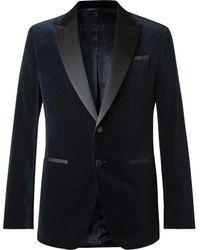BOSS by Hugo Boss Navy Helward Slim-fit Satin-trimmed Cotton-velvet Tuxedo Jacket - Blue