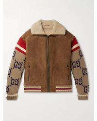 Gucci Knitted Sleeve Shearling Suede Jacket - Brown