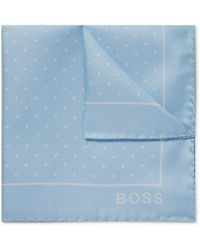 BOSS by HUGO BOSS Polka-dot Silk-twill Pocket Square - Blue