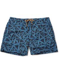 Thorsun Titan Slim-fit Mid-length Printed Swim Shorts - Blue