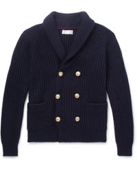 Brunello Cucinelli - Shawl-collar Double-breasted Ribbed Cashmere Cardigan - Lyst