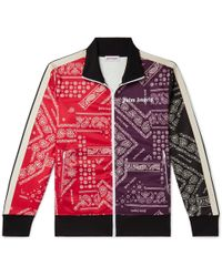 9a55198ec Slim-fit Webbing-trimmed Printed Tech-jersey Track Jacket - Red
