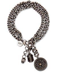 Alexander McQueen Embellished Burnished Silver-tone Bracelet - Metallic