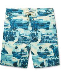RRL Long-length Printed Swim Shorts - Blue