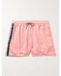 Birdwell Mid-length Striped Swim Shorts - Pink