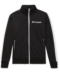 Palm Angels Striped Logo-print Tech-jersey Track Jacket - Black