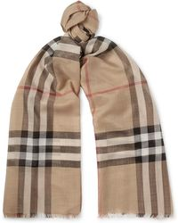Burberry - Fringed Checked Wool And Silk-blend Scarf - Lyst