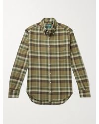 Gitman Brothers Vintage Slim-fit Button-down Collar Checked Cotton-flannel Shirt - Brown
