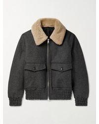 AMI Slim-fit Shearling-trimmed Wool-blend Bomber Jacket - Grey