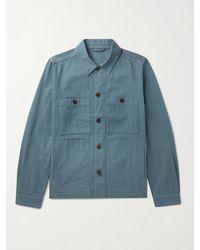 MR P. Garment-dyed Cotton-twill Overshirt - Blue