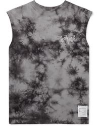 Satisfy Distressed Printed Tie-dyed Cotton-jersey Tank Top - Black