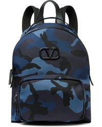 Valentino Garavani Leather-trimmed Camouflage-print Canvas Backpack - Blue