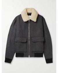 MR P. Shearling-trimmed Houndstooth Wool-blend Bomber Jacket - Grey