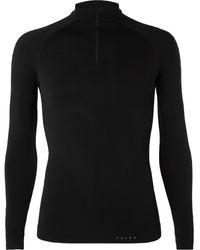 Falke Warm Stretch-jersey Half-zip Top - Black