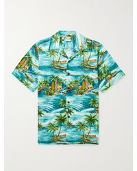 Go Barefoot Outrigger Camp-collar Printed Cotton Shirt - Blue