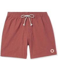 Mollusk Vacation Mid-length Cotton-blend Swim Shorts - Red