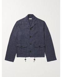 CONNOLLY Mélange Linen And Cotton-blend Shirt Jacket - Blue