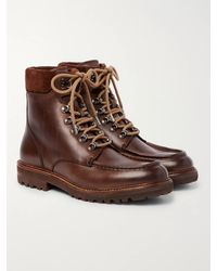 Brunello Cucinelli Suede-trimmed Leather Boots - Brown