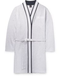 BOSS by Hugo Boss Striped-trimmed Ribbed Mélange Cotton Robe - Grey