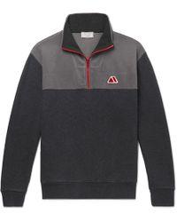 Maison Kitsuné - Fleece And Cotton-jersey Half-zip Sweatshirt - Lyst
