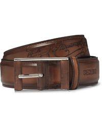 Berluti 3.5cm Tan Scritto Leather Belt - Brown