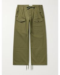 Chimala Wide-leg Cotton-twill Drawstring Cargo Trousers - Green