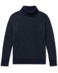 Richard James Wool-blend Bouclé Rollneck Sweater - Blue